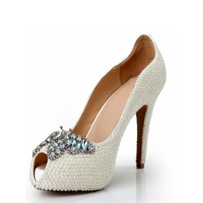 Women's Peep Toe Patent Leather Stiletto Heel Platform With Pearl Rhinestone Platforms Shoes