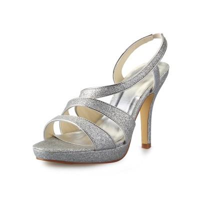 Women's Cone Heel Platform Satin Peep Toe With Sparkling Glitter Sandals Shoes