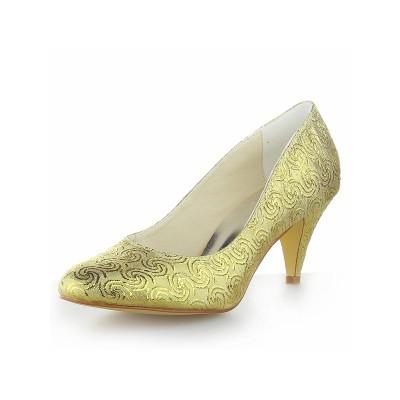 Women's Satin Cone Heel Closed Toe High Heels