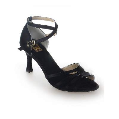 Women's Peep Toe Satin Stiletto Heel Buckle Dance Shoes