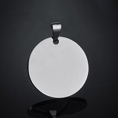 Titanium Steel Personalized Photo Engraved Round Shape Pendant Necklace
