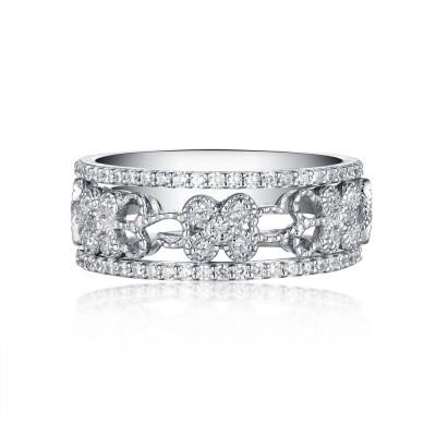 Round Cut White Sapphire S925 Silver Art Deco 3 Piece Ring Sets