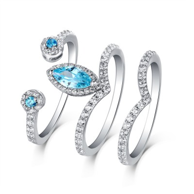 Marquise Cut Aquamarine & White Sapphire S925 Silver 3 Piece Ring Sets