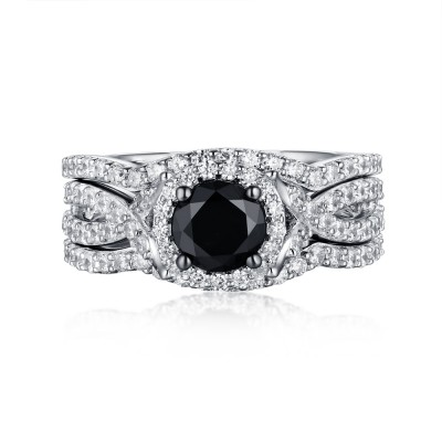 Round Cut Black & White Sapphire S925 Silver Halo 3 Piece Ring Sets