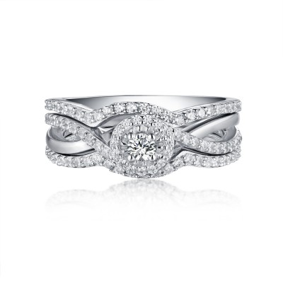 Round Cut White Sapphire S925 Silver Halo 3 Piece Ring Sets