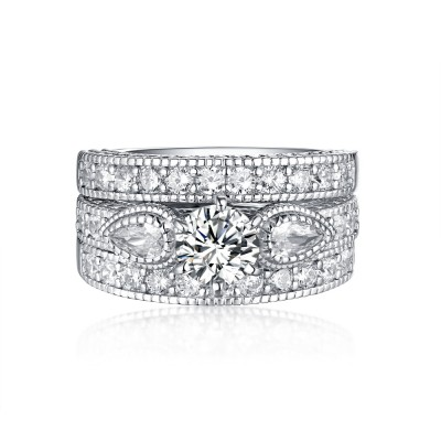 Round Cut White Sapphire 925 Sterling Silver 3-Stone Ring Sets