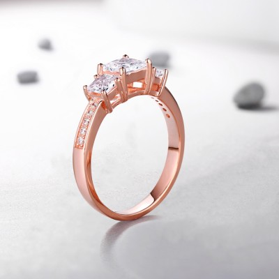 Princess Cut White Sapphire Rose Gold Sterling Silver Three-Stone Engagement Rings