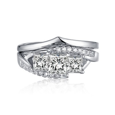 Princess Cut S925 Silver White Sapphire 3-Stone Ring Sets