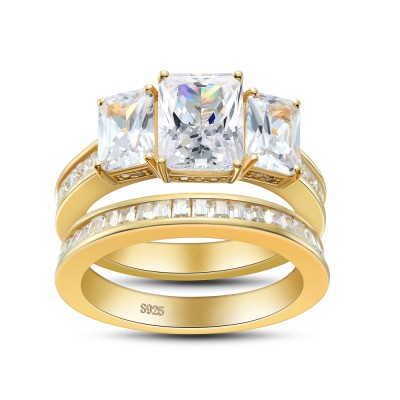 Three Stone Emerald Cut Sterling Silver Women's Engagement Ring