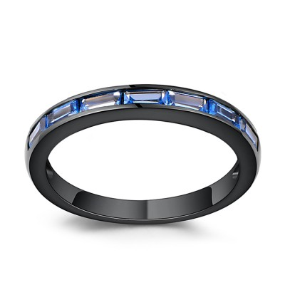 Emerald Cut Blue Sapphire Black Sterling Silver Wedding Bands