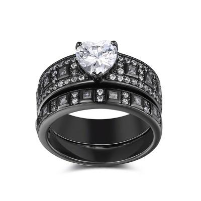 Heart Cut White Sapphire Sterling Silver Women's Ring