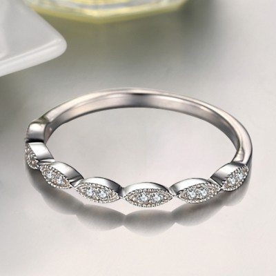 Round Cut White Sapphire Sterling Silver Wedding Bands