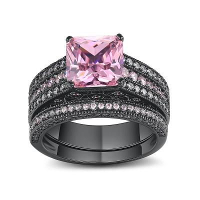 Asscher Cut Pink Sapphire Black 925 Sterling Silver Engagement Ring