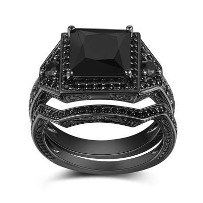Black 925 Sterling Silver Princess Cut Black Engagement Ring
