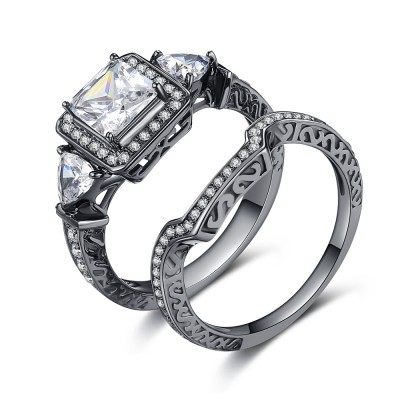 Princess Cut Gemstone Black 925 Sterling Silver Engagement Ring