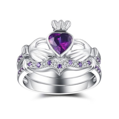 Heart Cut Amethyst 925 Sterling Silver Birthstone Ring