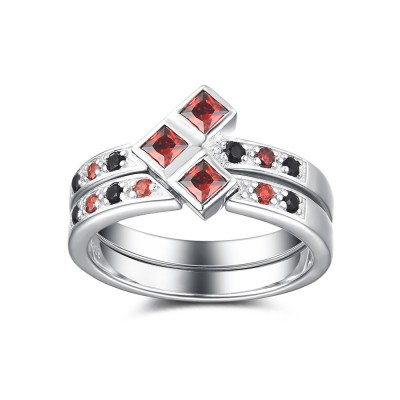 Ruby and Black Sapphire 925 Sterling Silver Women's Ring