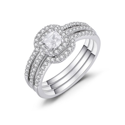 Asscher Cut White Sapphire 925 Sterling Silver Women's Bridal Ring