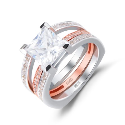 Rose Gold Princess Cut White Sapphire 925 Sterling Silver Women's Ring