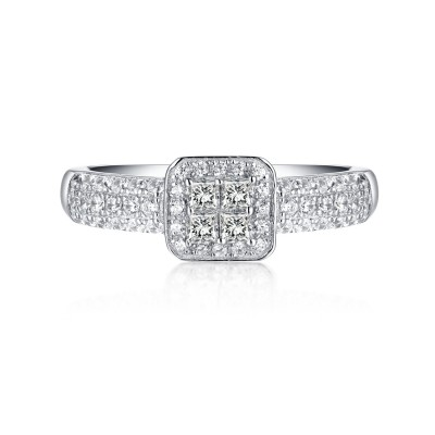 Princess Cut 925 Sterling Silver White Sapphire Halo Engagement Rings