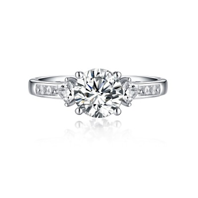 Round Cut White Sapphire 925 Sterling Silver Three-Stone Engagement Rings