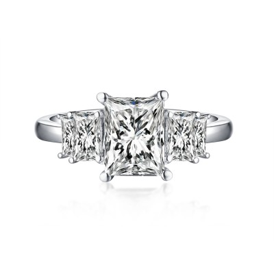 Emerald Cut White Sapphire 925 Sterling Silver Engagement Rings