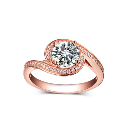 Round Cut White Sapphire 925 Rose Gold Sterling Silver Engagement Rings