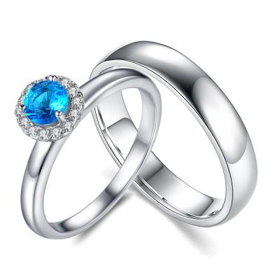 Round Cut Aquamarine Sterling Silver Halo Couple Rings 2 Review(s) |  Write a review DHL 3-5