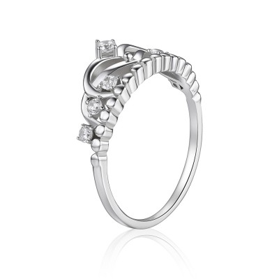 Round Cut White Sapphire 925 Sterling Silver Promise Rings For Her