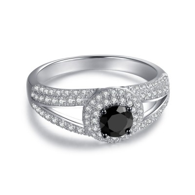 Round Cut Black Sapphire Sterling Silver Women's Engagement Ring