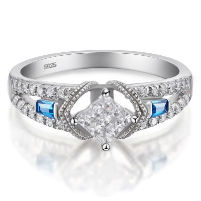 Princess Cut 925 Sterling Silver Aquamarine Sapphire Women's Engagement Ring