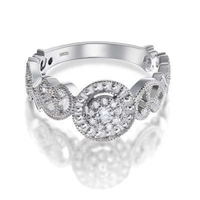 Elegant Round Cut White Sapphire 925 Sterling Silver Engagement Ring