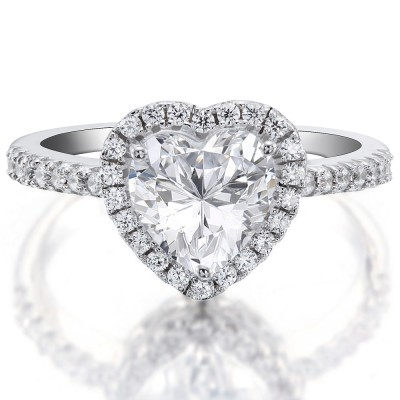Heart Cut Gemstone 925 Sterling Silver Engagement Ring