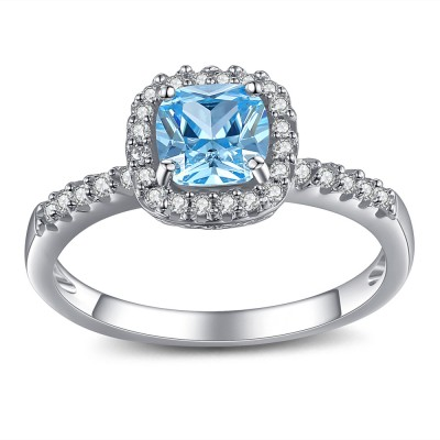 Asscher Cut Aquamarine 925 Sterling Silver Engagement Ring