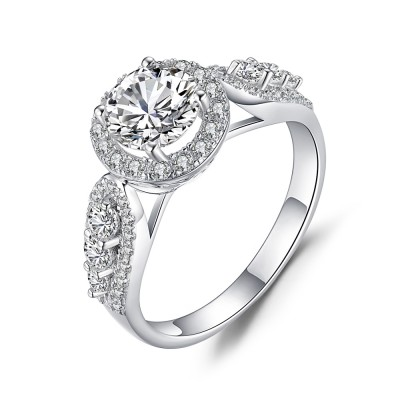 925 Sterling Silver Round Cut Gemstone Engagement Ring