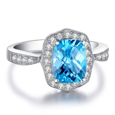 Cushion Cut Aquamarine 925 Sterling Silver Women's Engagement Ring