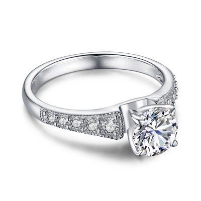 White Sapphire Round Cut Sterling Silver Women's Engagement Ring