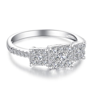 Round Cut Three Stone White Sapphire Sterling Silver Women's Engagement Ring