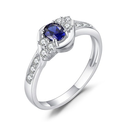 Oval Cut Sapphire 925 Sterling Silver Women's Engagement Ring