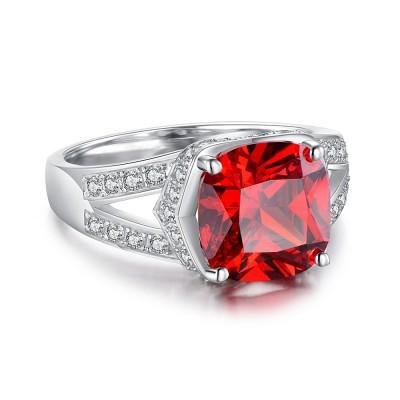 Cushion Cut Ruby 925 Sterling Silver Birthstone Rings