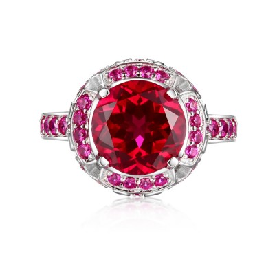 Round Cut Ruby S925 Silver Halo Engagement Rings