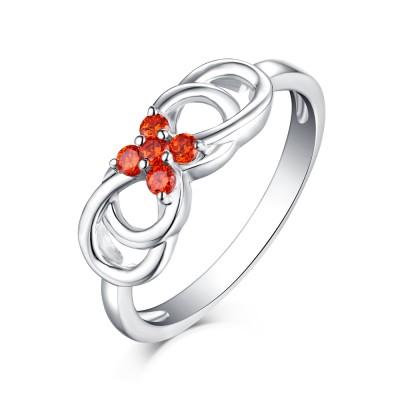 Round Cut Orange Sapphire S925 Silver Infinity Rings
