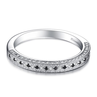 Round Cut Black 925 Sterling Silver Women's Wedding Bands