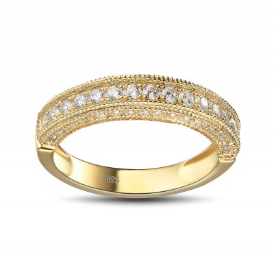 Round Cut White Sapphire Gold 925 Sterling Silver Women's Wedding Bands
