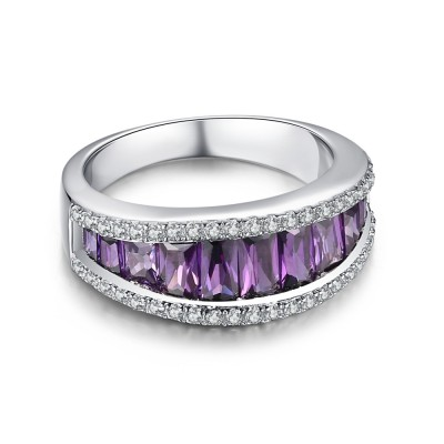 Round Cut Amethyst 925 Sterling Silver Women's Wedding Bands