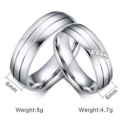 Elegant Silver Titanium Steel Promise Ring for Couples
