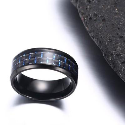 Blue Decoration Black Titanium Steel Men's Ring