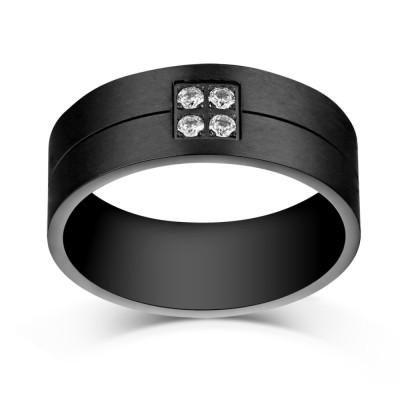 Round Cut Gemstone Black Titanium Steel Men's Ring