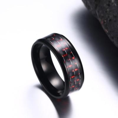 Red Decoration Black Titanium Steel Men's Ring