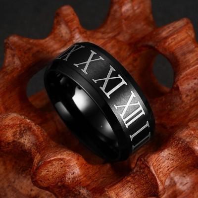 Roman Numerals Black Titanium Steel Men's Ring